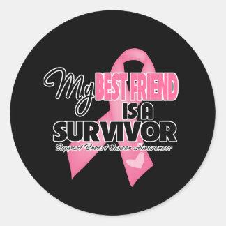 My Best Friend is a Survivor - Breast Cancer Classic Round Sticker