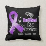My Best Friend is a Survivor Purple Ribbon Pillows