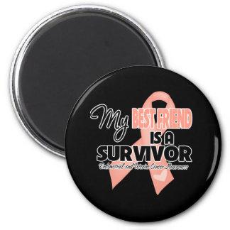 My Best Friend  is a Survivor - Uterine Cancer 2 Inch Round Magnet