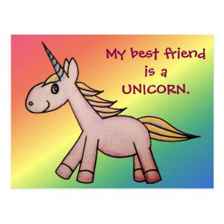 My Best Friend is a Unicorn - Rainbow Postcard