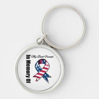My Best Friend Memorial Patriotic Ribbon Keychains
