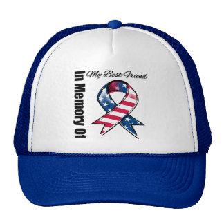 My Best Friend Memorial Patriotic Ribbon Trucker Hat
