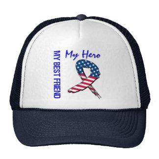 My Best Friend My Hero Patriotic Grunge Ribbon Trucker Hat