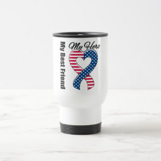 My Best Friend My Hero Patriotic USA Ribbon Travel Mug