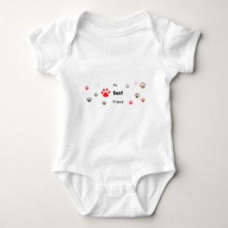 My Best Friend Paw Prints Design Baby Bodysuit
