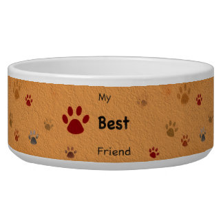 My Best Friend Paw Prints Textured Dog Water Bowls