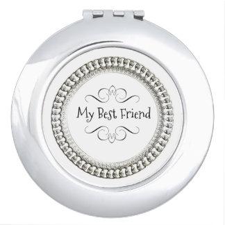 """"""" My Best Friend"""" Round* Silver& Black  Ornate Compact Mirror"""