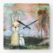 My Best Friend Whimsical Rabbit Owl Woodland Art Square Wall Clock