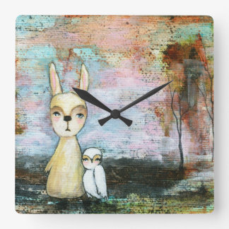 My Best Friend Whimsical Rabbit Owl Woodland Art Square Wall Clocks
