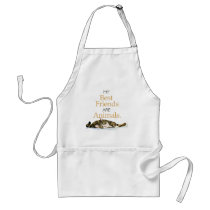 My best friends are animals cat watercolor adult apron