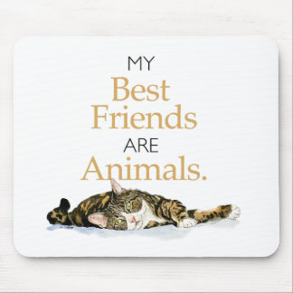My best friends are animals cat watercolor mouse pad