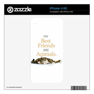My best friends are animals cat watercolor skin for iPhone 4S