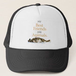 My best friends are animals cat watercolor trucker hat