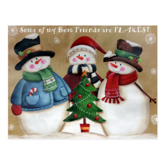My Best Friends are Flakes Snowmen Postcard