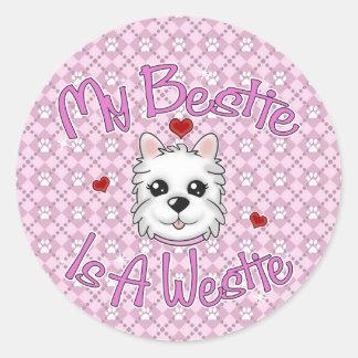 """""""My Bestie Is A Westie"""" GIRL Stickers"""