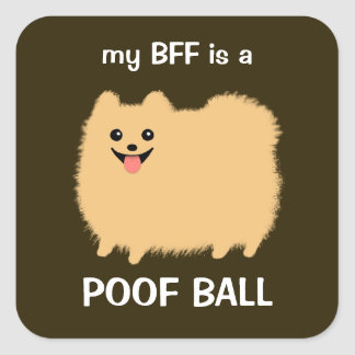 My BFF is a Poof Ball Fluffy Pomeranian Stickers