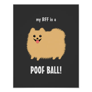 My BFF is a POOF BALL Pomeranian - Customizable Poster