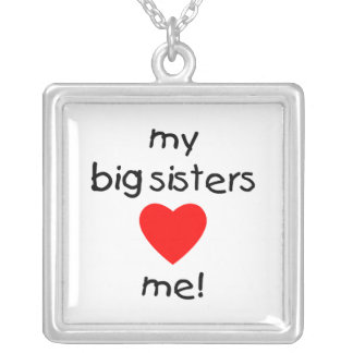 My Big Sisters Love Me Square Pendant Necklace