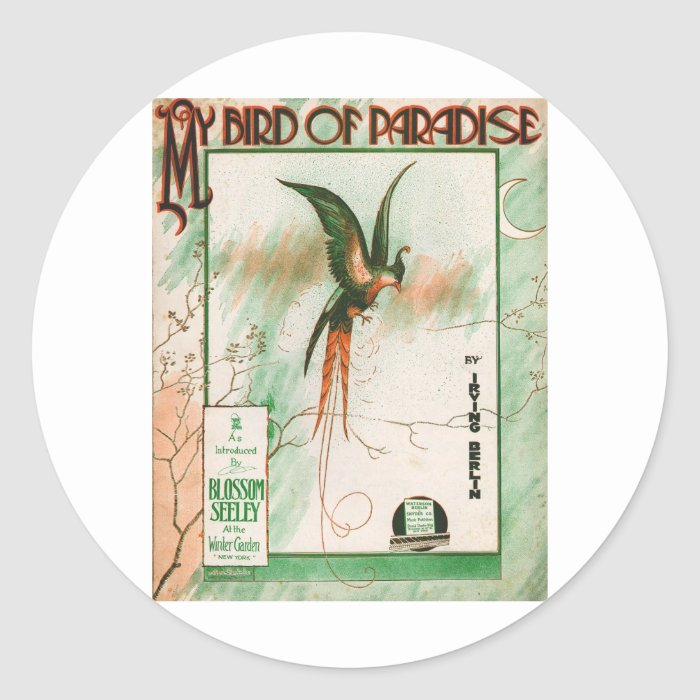 My Bird of Paradise Vintage Music Sheet Cover Classic Round Sticker
