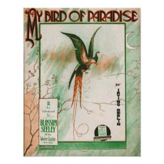 My Bird of Paradise Vintage Music Sheet Cover Poster