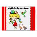 My birds my happiness cute cartoon cards