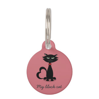 My black cat love identification tag - framboise pet name tag