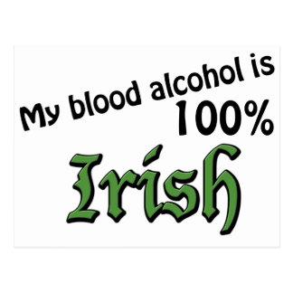 My blood alcohol is 100% Irish Postcard