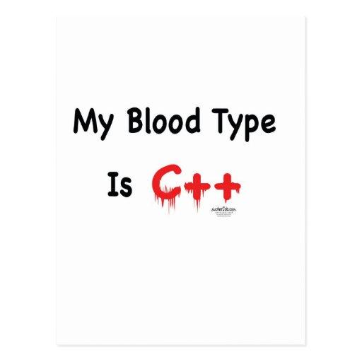 My blood type is c++ postcard
