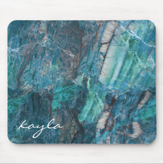 My Blue Heaven Abstract Marble with Monogram Mouse Pad