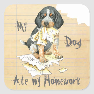 My Bluetick Ate My Homework Square Sticker