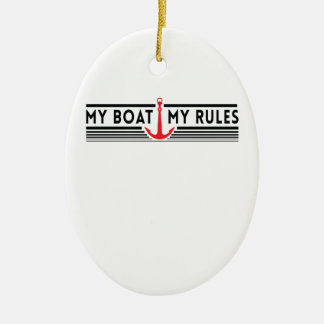 My Boat My Rules Double-Sided Oval Ceramic Christmas Ornament