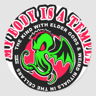 MY BODY IS A TEMPLE ROUND STICKERS