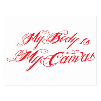 My body is my canvas in awesome tattoo font postcard