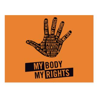 My Body My Choice Women's Rights Postcard
