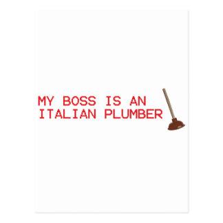 My Boss Is An Italian Plumber - Mario Video Game Postcard