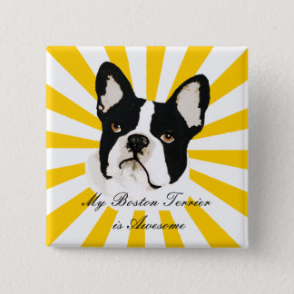 My Boston Terrier is Awesome Pinback Button
