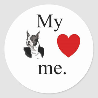 My Boston terrier loves me Classic Round Sticker