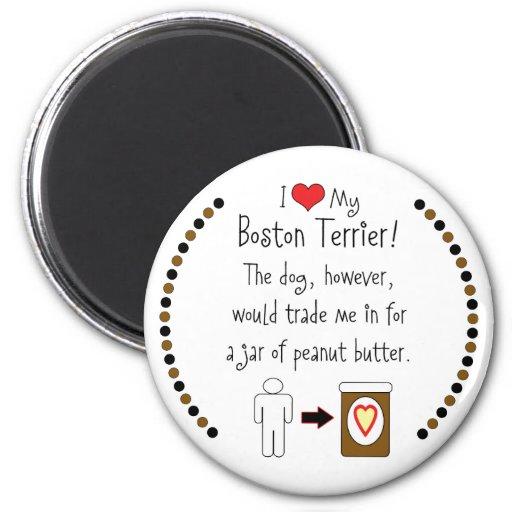 My Boston Terrier Loves Peanut Butter Fridge Magnet