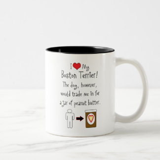 My Boston Terrier Loves Peanut Butter Two-Tone Coffee Mug
