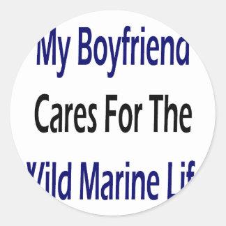 My Boyfriend Cares For The Wild Marine Life Round Stickers