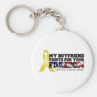 My Boyfriend Fights For Your Freedom Basic Round Button Keychain