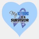 My Boyfriend  is a Survivor - Colon Cancer Heart Stickers
