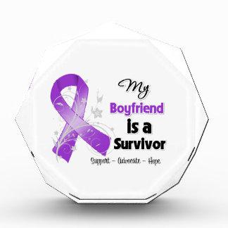 My Boyfriend is a Survivor Purple Ribbon Acrylic Award