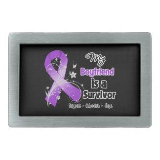 My Boyfriend is a Survivor Purple Ribbon Rectangular Belt Buckle