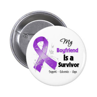 My Boyfriend is a Survivor Purple Ribbon Pinback Buttons