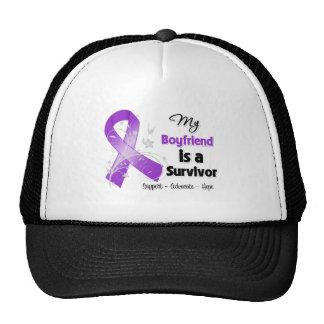 My Boyfriend is a Survivor Purple Ribbon Mesh Hats