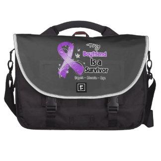 My Boyfriend is a Survivor Purple Ribbon Laptop Commuter Bag