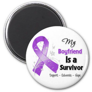 My Boyfriend is a Survivor Purple Ribbon Magnets