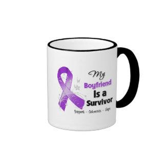 My Boyfriend is a Survivor Purple Ribbon Coffee Mug
