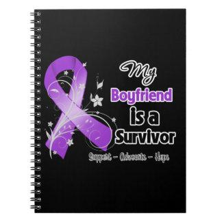 My Boyfriend is a Survivor Purple Ribbon Spiral Note Book